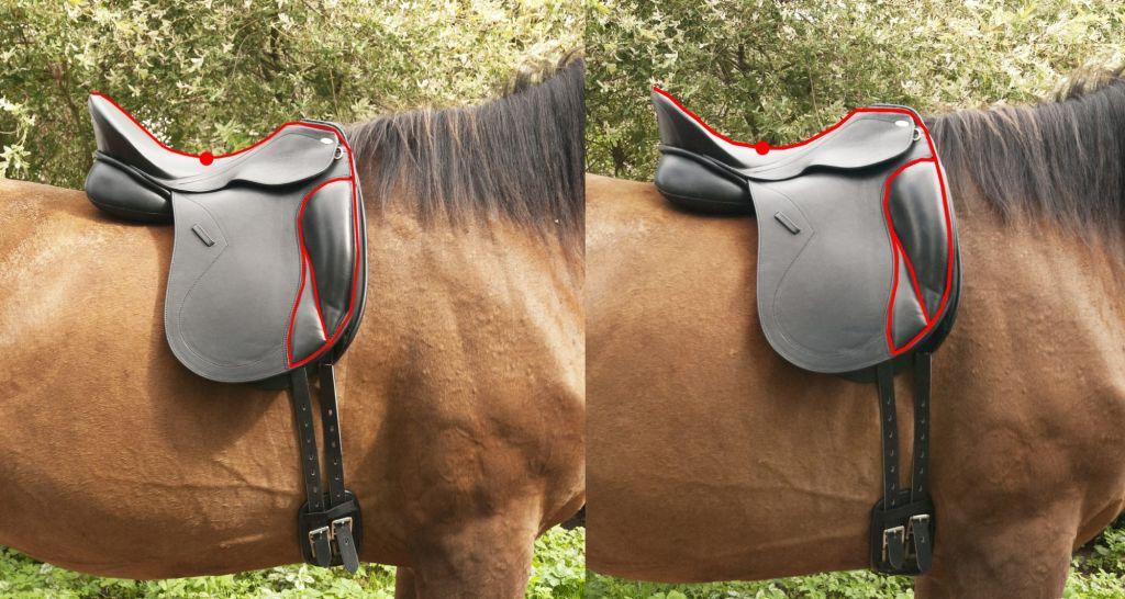 Po lewej koń osiodłany poprawnie, po prawej - za bardzo do przodu. Kropka pokazuje najniższy punkt siodła.
